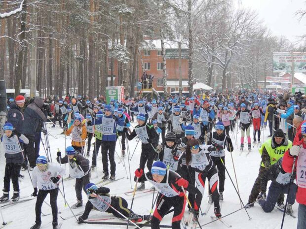 """Fall at the start on the ski race """"Ski Track of Russia"""" at a distance of 5 km."""